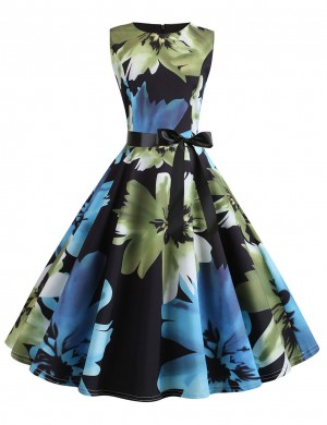 Edgy Sleeveless Print Bow Tie Zipper Skater Dress Great Quality