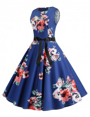 Non-Sleeve Flower Flare Hem Skater Dress Zipper Stunning Style