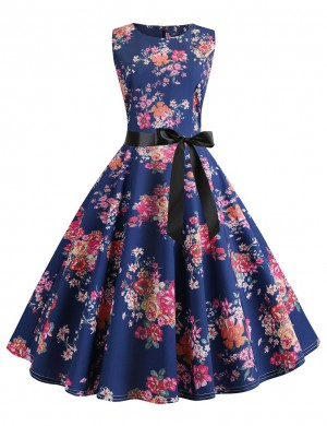 Round Neck Sleeveless Zip Floral Skater Dress Weekend Time