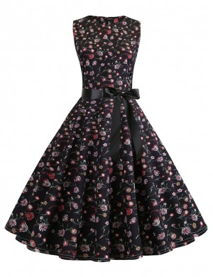 Exquisitely Floral Waist Knot Zip Sleeveless Skater Dress Fashion