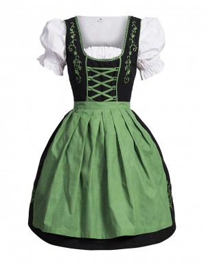 Remarkable Green 3 Piece Bavaria Queen Size Oktoberfest Costumes Exotic Girls