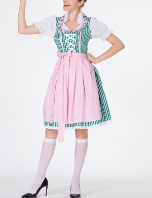 Sophisticated Green Plaid Dirndl Queen Size Carnival Oktoberfest Costumes Sale