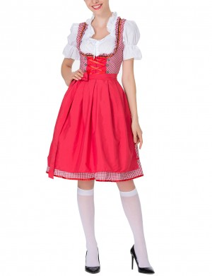 Red Dirndl Short Sleeve Large Size Oktoberfest Costumes Natural Women Fashion