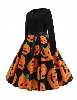 Gorgeously Pumpkin Paint Tie Swing Skater Dress For Every Occasion