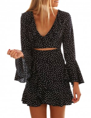 Loose Black Cut Out Short Dress Ruffled Flared Sleeves Fashion Essential