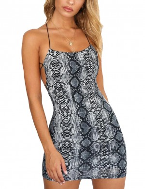 Noble Blue Serpent Print Bodycon Dress Strappy Outfit