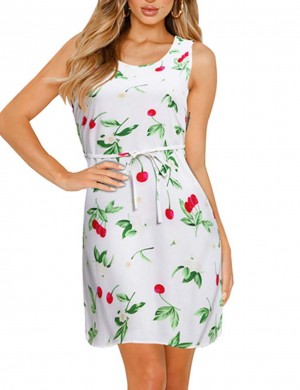 Dramatic Sleeveless Fruity Large Size Mini Dress For Shopping