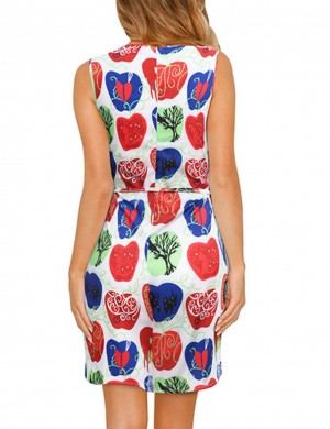 Delightful Print Open Sleeve Large Size Mini Dress Heartbreaker