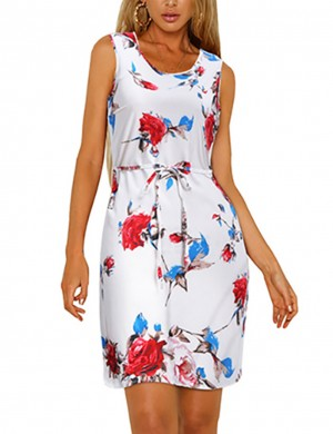 Close Fitting Flower Print Large Size Zip Back Mini Dress