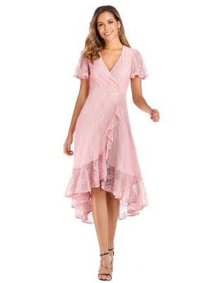 Fetching Pink Lace Ruffle Trim Evening Dress V-Neck Cool Fashion