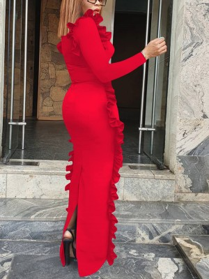 Nicely Red Floor-Length Split Evening Dress Plain Free Time