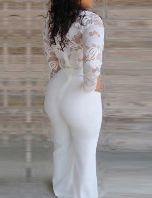 Ultra Hot White Deep-V Lace Full Length Jumpsuit Modern Fashion
