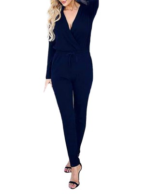 Blue Sexy Wrap Top Solid Color Long Sleeve Knit Jumpsuit