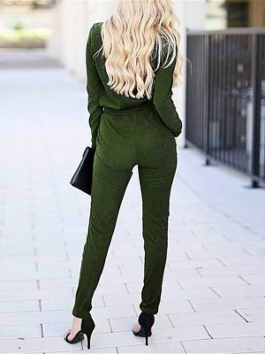 Sexy Wrap Top Tie Waist Long Sleeve Knit Jumpsuit