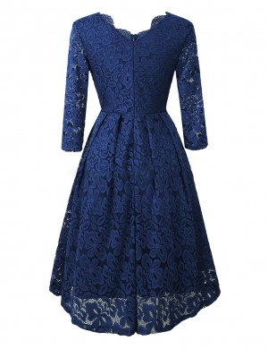 Dark Blue V-Neck Solid Color Lace Midi Dress Fashion Essential