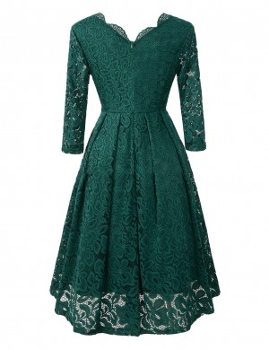Luscious Curvy Green V Neck Back Zipper Half Sleeves Midi Dress