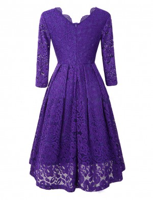 Purple Lace V Neck Hollow Out Midi Dress Feminine Elegance