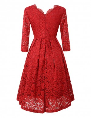 Brightly Red High Waist Lace V Neck Dress Comfort Fabric