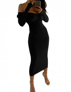 Inviting Black Long Sleeve Sweater Bodycon Dress All Over Smooth