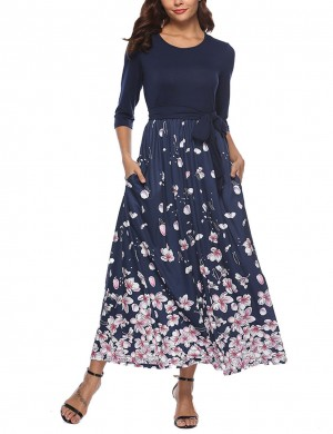 Stretchable Navy Blue Maxi Dress Round Neck Floral Printing Sash Fashion Insider