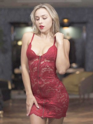 Wine Red Perspective Lace Slender Strap Lingerie Dress Elastic Material