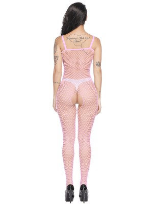 Inviting Pink Eyelet Strap Bodystocking Open Crotch Sexy Lingerie