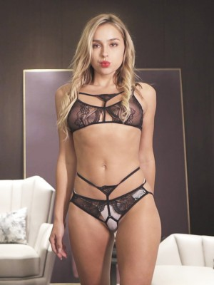 Delightful Black Strappy Lace Hollow Out Bra Set Soft Fabric