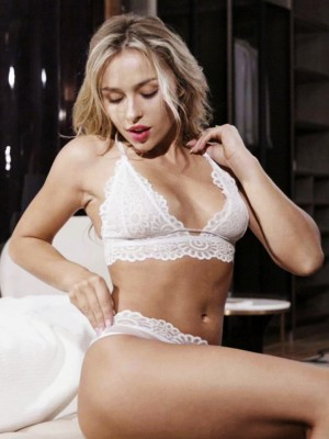 Must-Have White Lace Hollow Out Triangle Cup Bralette All Over Soft
