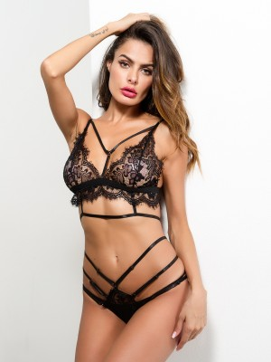 Flirting Black Strappy Lace Patchwork Mesh Bra Set Private Fashion