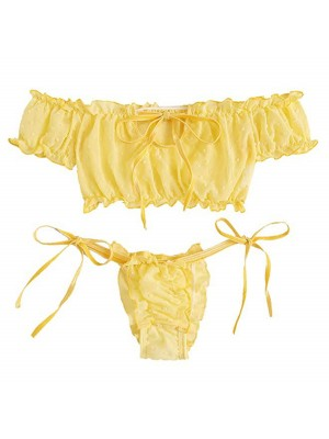 Fantastic Yellow Ruched Trim Solid Color Bralette For Midnight