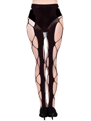 Pure Black High Waist Hollow Out Pantyhose Romantic Time