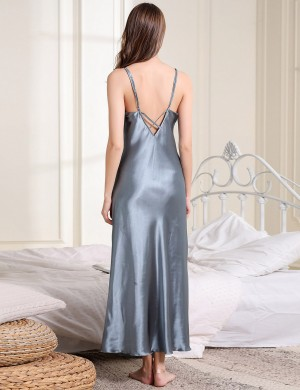 Precious Light Blue Open Back Crisscross Sleepwear V Neck Maximum Comfort