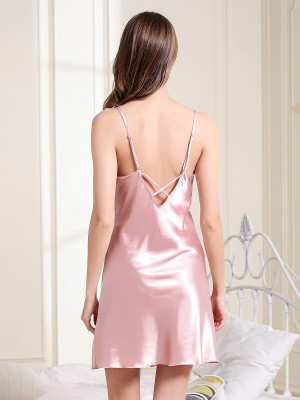 Sensational Pink Nightwear Backless Mini Length Sling Cool Fashion
