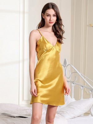 Sliky Yellow V-Neck Sleepwear Solid Color Strap Close Comfort