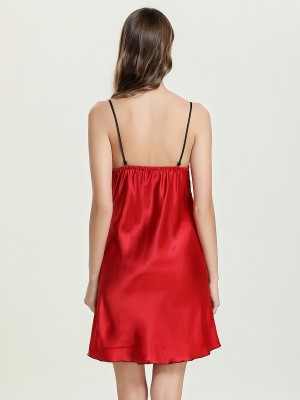 Favorite Red Plunge Collar Sleepwear Slender Strap Heartbreaker