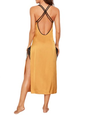Beautiful Yellow Crisscross Back High Slit Lace Sleepwear For Boudoir
