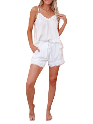 Faddish White Adjustable Shoulder Straps Pajamas Set High Quality
