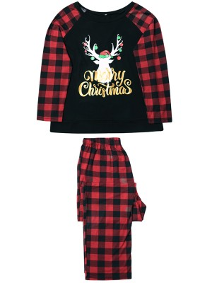 Adorable Plaid Printed Men's Christmas Pajamas Slim Fingure