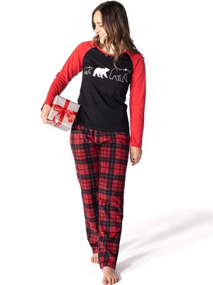 Mom High Rise Bear Pattern Loungewear Set Glamorous Look