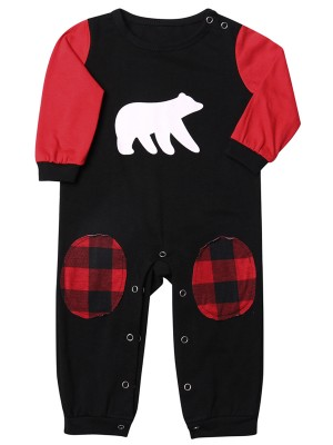 Baby Colorblock Rivet Round Collar Jumpsuit Superior Comfort