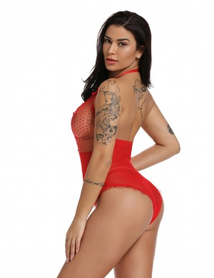 Red Sheer Mesh Lace Patchwork Halter Teddy Super Fashion
