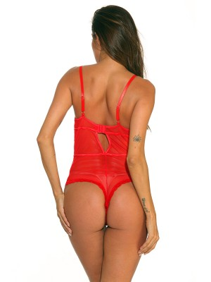 Amorous Red Hollow-Out Back Mesh Teddies Lace Honeymoon