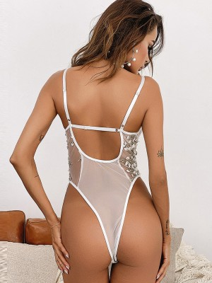 White Open Back Lace Teddy Embroidered Floral Lingerie