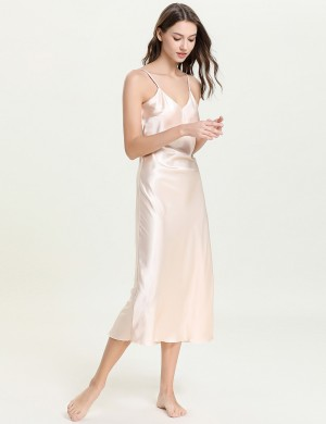 Apricot Midi Length Backless Faux Silk V Neck Sleepwear Distinctive Look