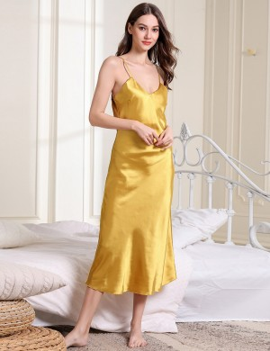 Shimmery Gold Spaghetti Strap Plain V Neck Faux Silk Sleepwear For Couple