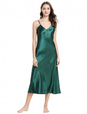 Green Solid Color V Neck Faux Silk Sleepwear Backless Mature Female Fashion