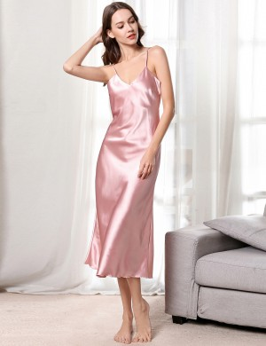 Demure Pink Faux Silk Sling V Collar Midi Length Sleepwear Slim All over