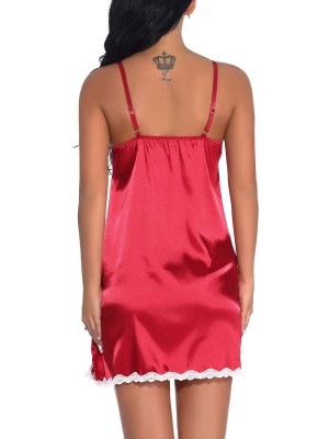 Sale Online Wine Red Side Slit Babydoll Backless Lace Affordable Online
