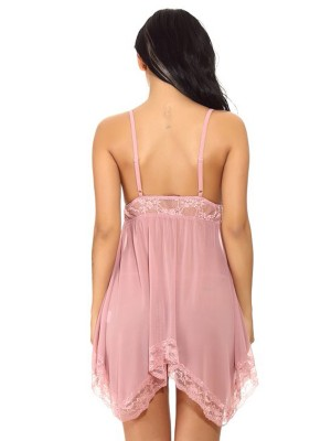 Inexpensive Pink Sleeveless Irregular Babydoll Lace Trim Romantic Nightwear