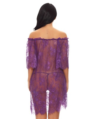 Cheap Purple Off Shoulder Ruffled Lace Babydoll Slim All over